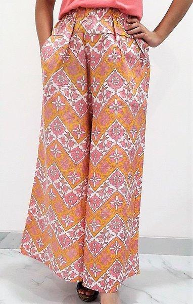 Celana Batik Kulot Panjang - Kuning Pink