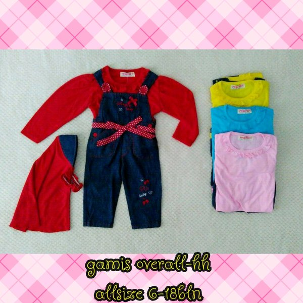 stelan baju bayi muslim over all denim usia 6-24 bln
