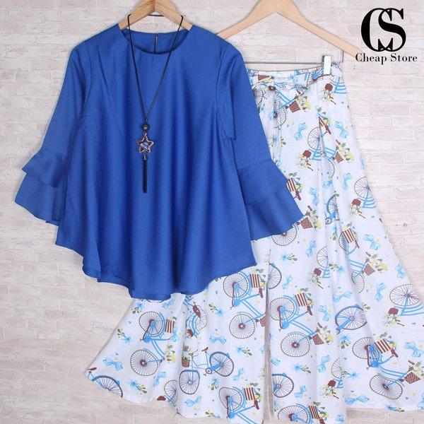 Setelan kulot pakaian wanita busana muslim celana panjang biru