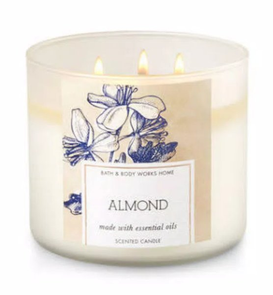 ALMOND - LILIN AROMATHERAPY - AROMATERAPI - 3 - WICK CANDLE - BATH AND BODY WORKS