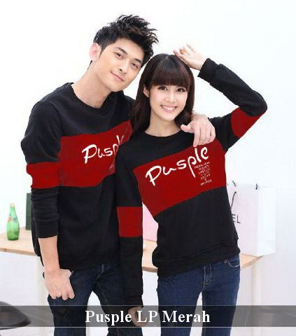 Lengan Panjang Couple Simple | Fashion Couple Unik | LP Pusple maroon