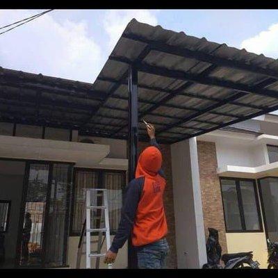 harga kanopi baja ringan atap spandek hot sale pemasangan di cibinong