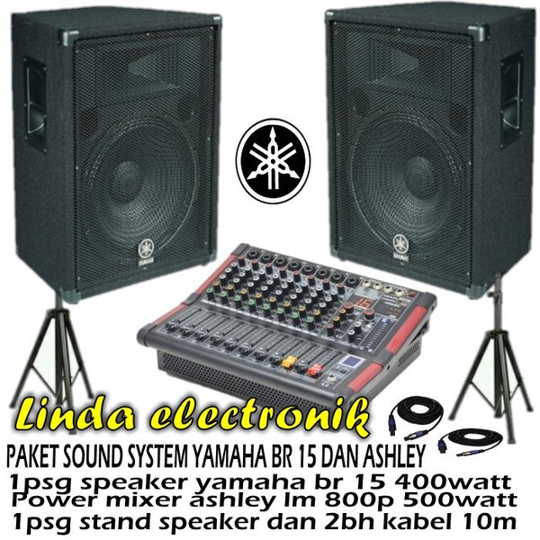 Paket Sound System YAMAHA BR 15 400WATT DAN POWER MIXER ASHLEY 500WATT
