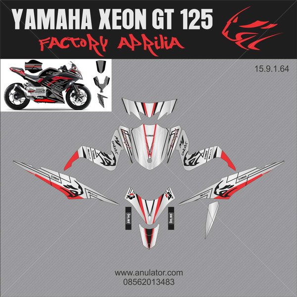 Sticker Striping Motor Stiker Yamaha Xeon Gt 125 Eagle Eyes Factory Aprilia Grey Spec B