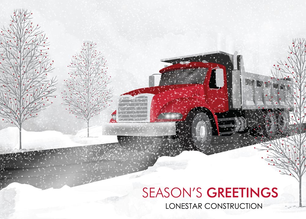 Red Dump Truck Season Holiday Card Trucking From Brookhollow