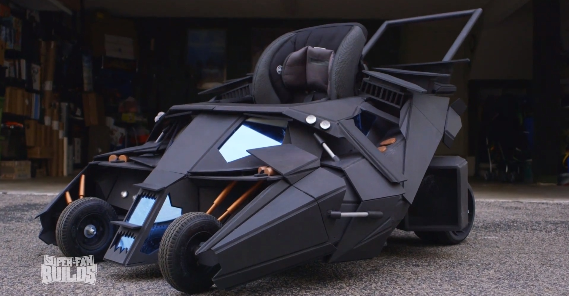 batman car chair white wooden folding chairs for weddings 2 39s tumbler batmobile turned into baby stroller