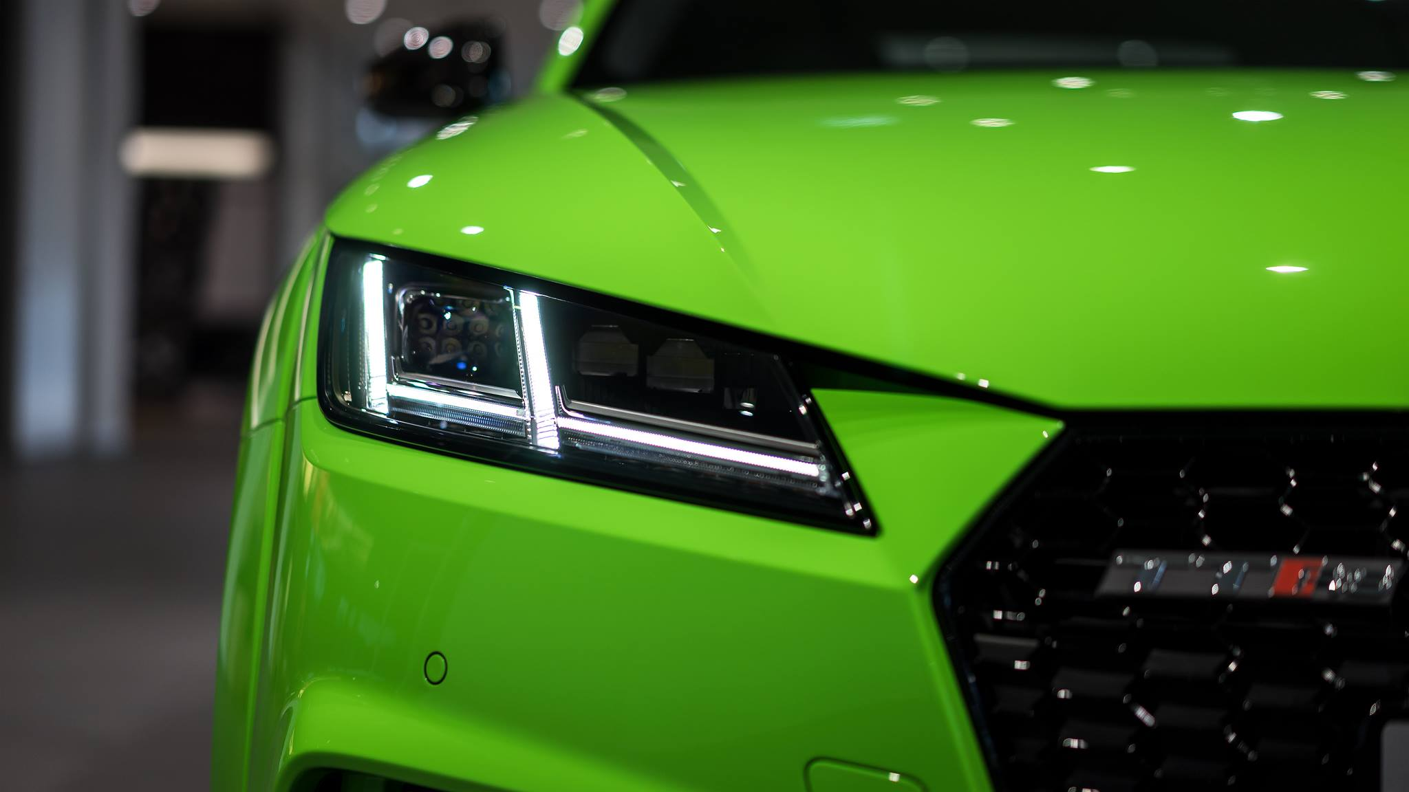 Motorcycle And Car Drift Wallpaper 2017 Audi Tt Rs In Lime Green Looks Like A Tiny Exotic Car