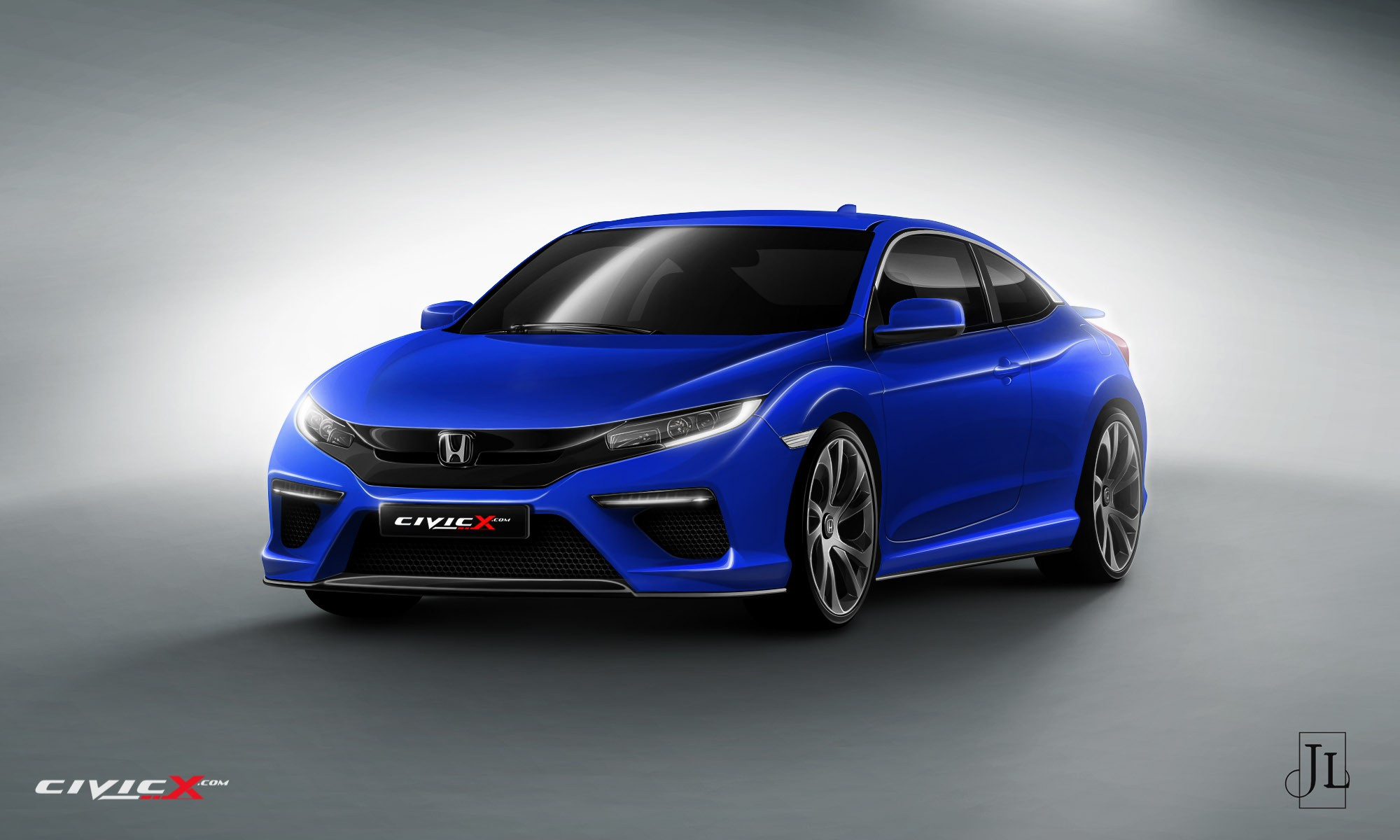 2017 Honda Civic Coupe Rendered In Vanilla And Super Hot