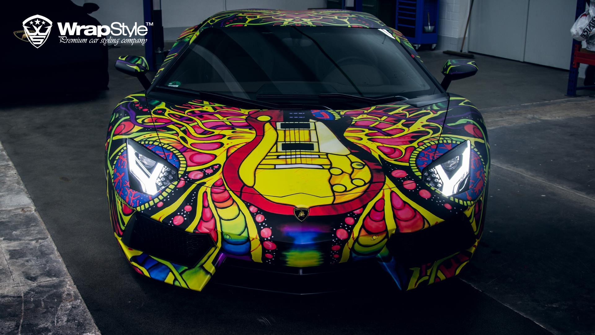 Deadmau5 Car Wallpaper Lamborghini Aventador With Psychedelic Wrap Looks Like An