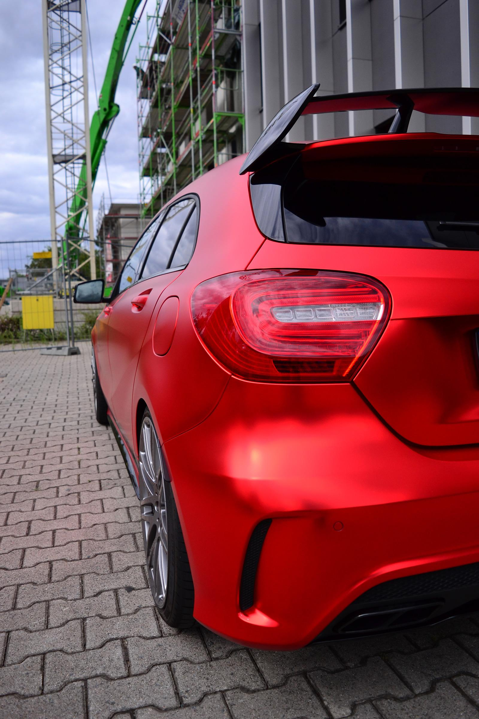 MercedesBenz A45 AMG Gets Wrapped in Wonderful Red Matte