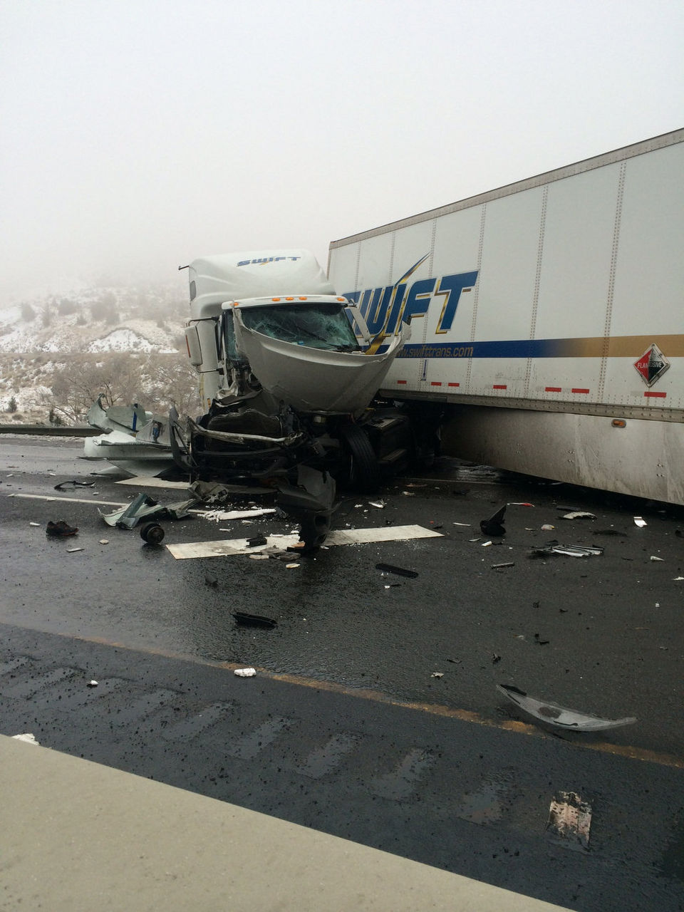 Pickup Driver Survives Being Crushed Between 2 Semis in I84 Pileup  autoevolution
