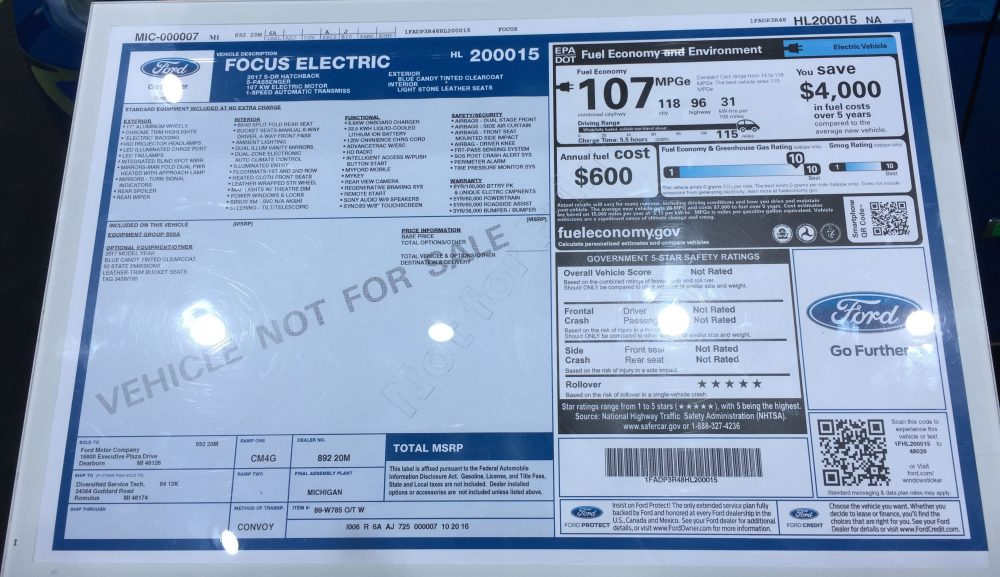 medium resolution of  2017 ford focus electric window sticker