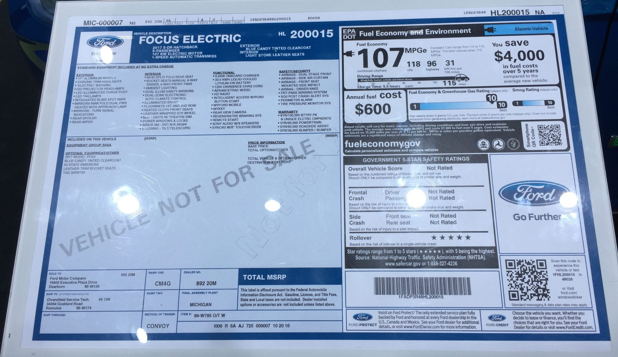 hight resolution of  2017 ford focus electric window sticker
