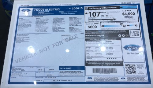 small resolution of  2017 ford focus electric window sticker