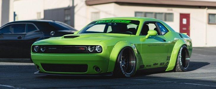 Exotic Car Wallpaper Pack Hulk Green Dodge Challenger Scat Pack Gets Liberty Walk