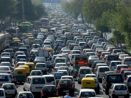 Traffic jams or slow traffic are the main reasons to split lanes