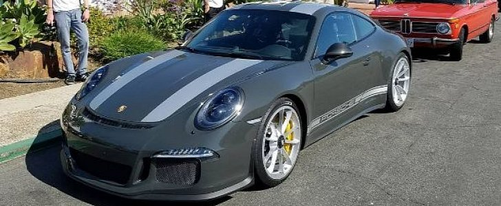 Slate Grey Porsche 911 R With Grey Stripes Stands Out In