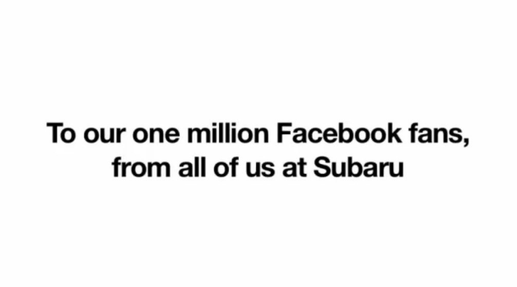 Subaru Gets 1 Million Facebook Fans, Says Thanks for the Love