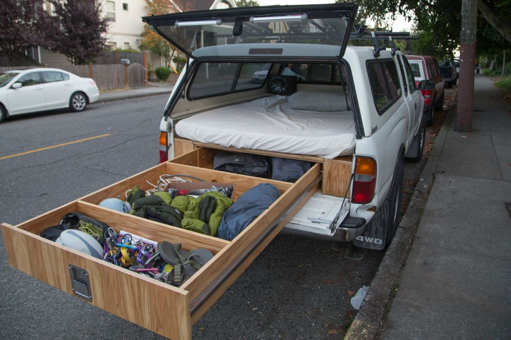 medium resolution of  toyota tacoma owner turns his car into a handmade rv