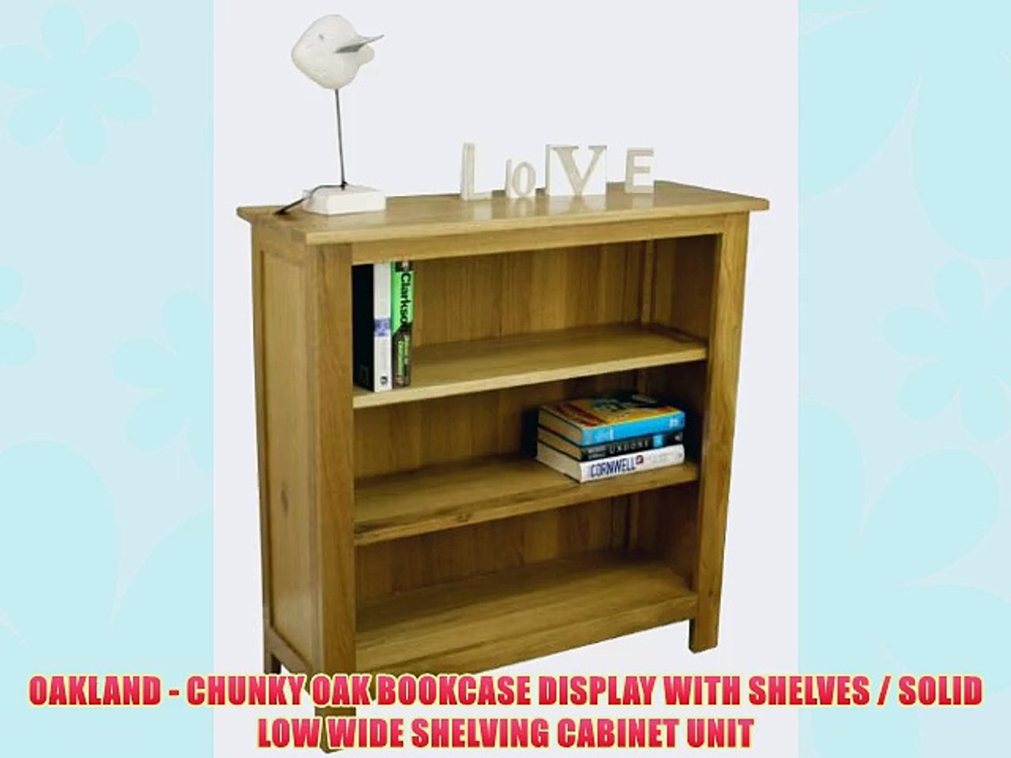 Oakland Chunky Oak Bookcase Display With Shelves Solid Low Wide Shelving Cabinet Unit