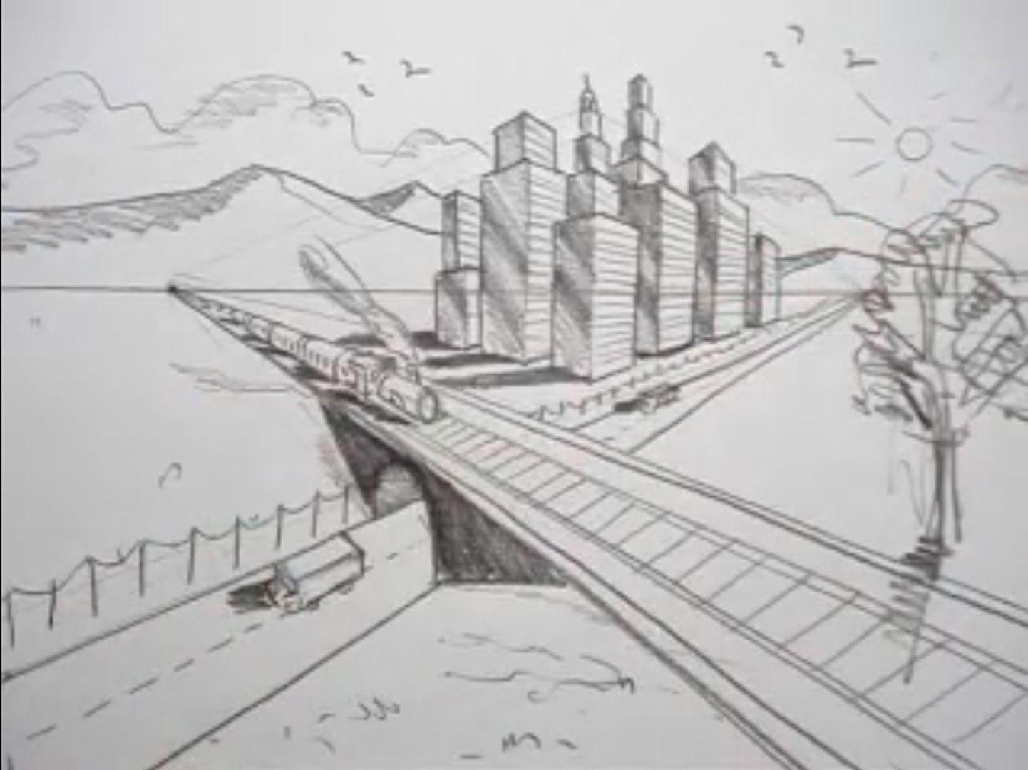 comment dessiner dans la ville de train de chemin de perspective route