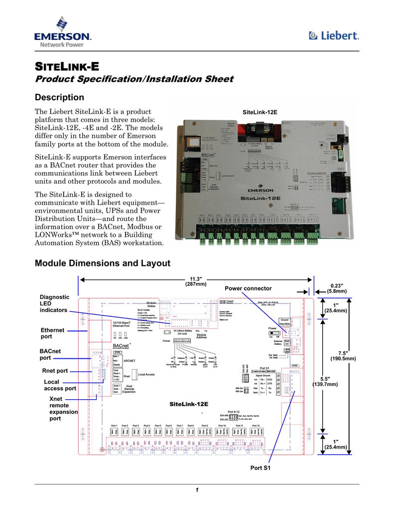medium resolution of liebert sitelink e emerson network power card bacnet wiring diagram emerson