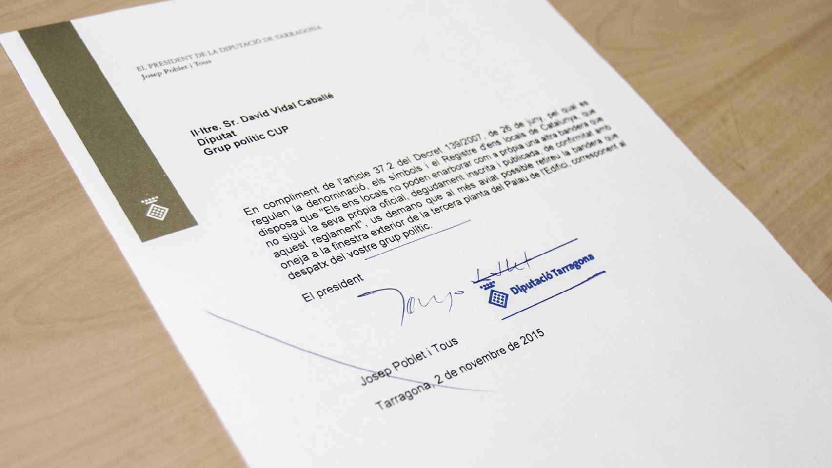La carta enviada por Poblet a la CUP.