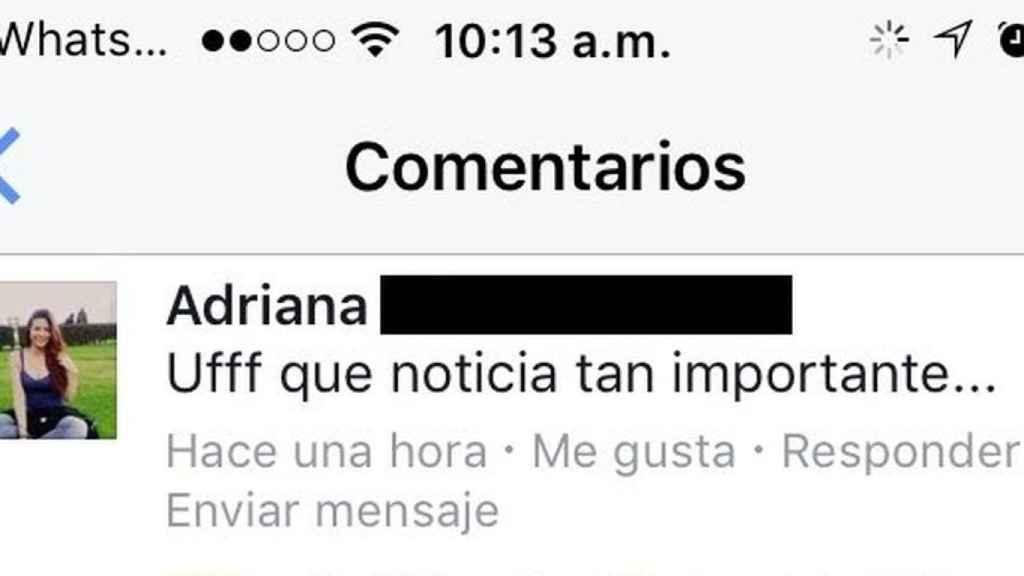 La queja de una usuaria ante uno de los contenidos publicados por un medio colombiano.