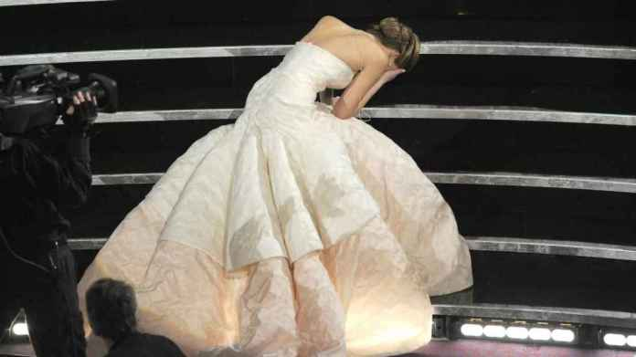 Jennifer Lawrence fell down when picking up the Oscar in 2013.