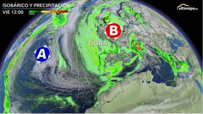 El tiempo: Alerta por la llegada de la borrasca invernal Dora a España:  estas son las zonas afectadas
