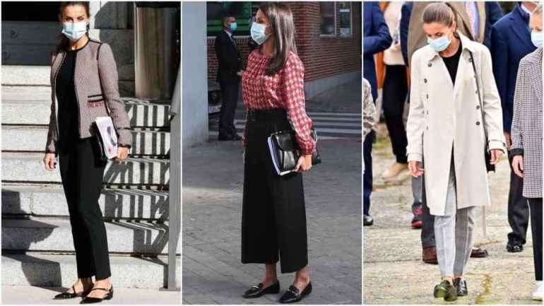 Queen Letizia in three institutional acts with three types of flat shoes.