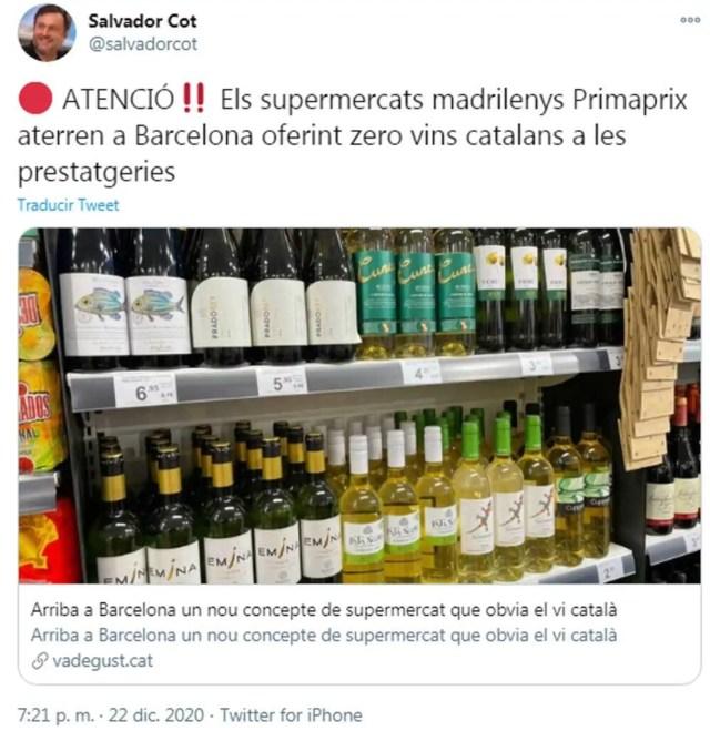 Salvador Cot señala en Twitter al establecimiento por no disponer de vinos catalanes.