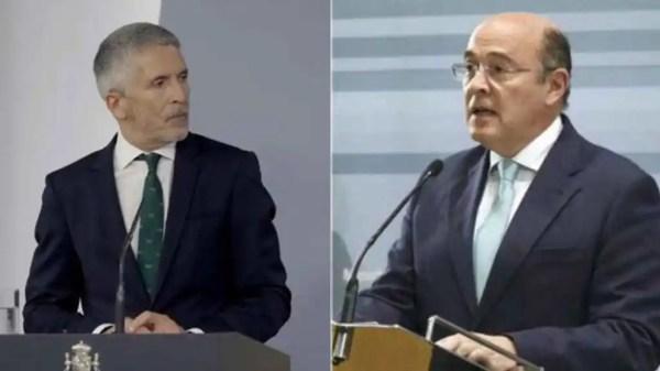 El ministro Fernando Grande-Marlaska y el coronel Diego Pérez de los Cobos.