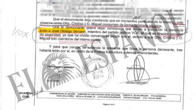 """Testimonio de Loic """"El Francés"""" en el atestado de la Guardia Civil. Fuente: El Español"""
