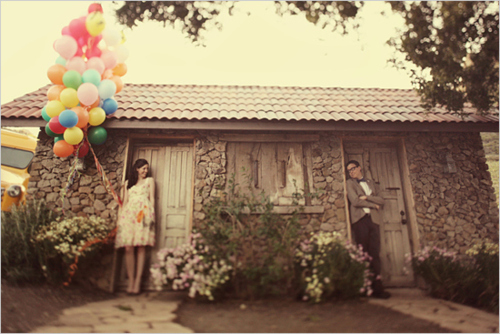 balloons, boy, couple, cute, fashion