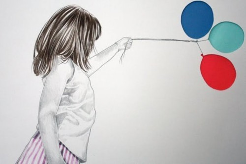 art, balloons, drawing, girl, illustration