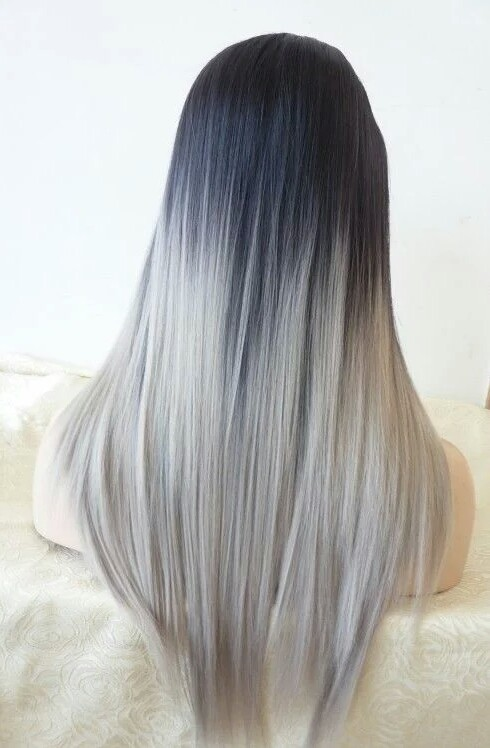 black goals hair long ombre white Silver Grey hair goals  image 3403770 by marine21 on