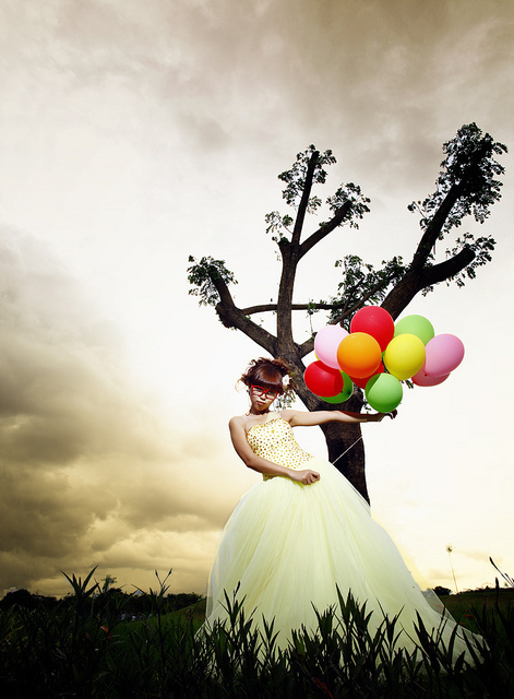 balloons, cute, dress, girl, sky