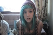 beautiful girl green hair scene