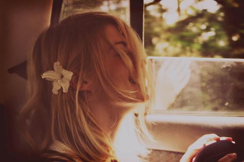 blonde, car, flower, hapiness, window
