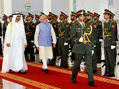 Narendra Modi in the UAE. Image courtesy: PTI