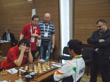 India and Turkey at World Team Chess Championship. Image courtesy: Twitter/@ChessbaseIndia