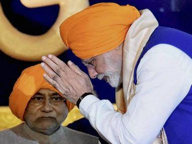 File image of Narendra Modi and Nitish Kumar. PTI