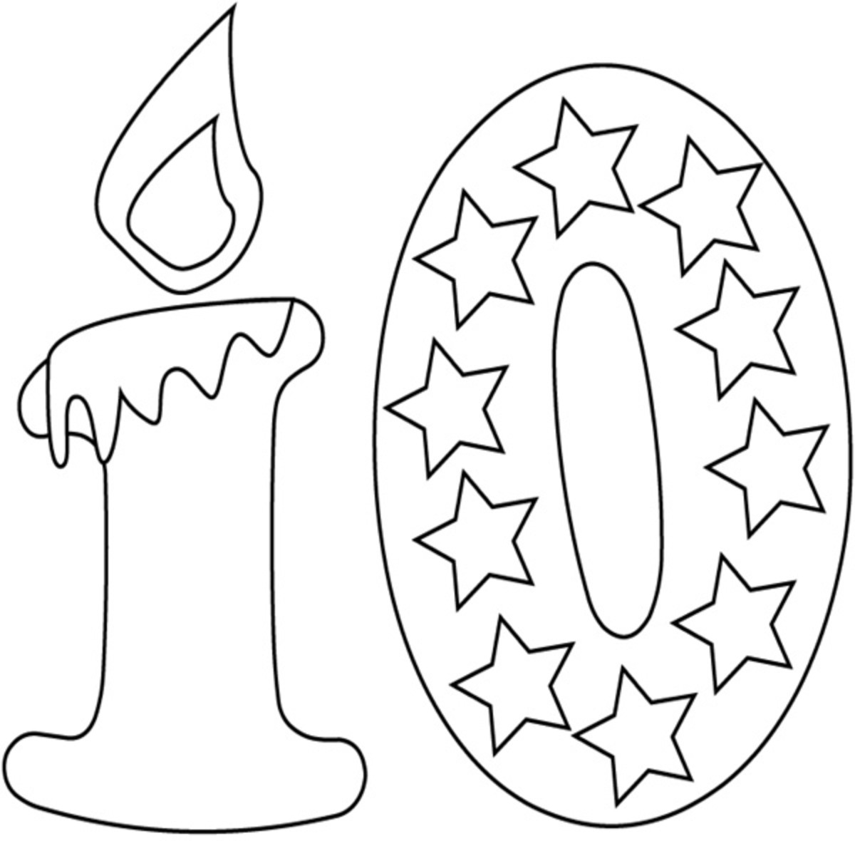 Happy 10th Birthday Coloring Pages Sketch Coloring Page