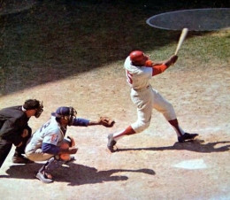 Dick Allen launching another long one at Connie Mack Stadium in the 1960s.
