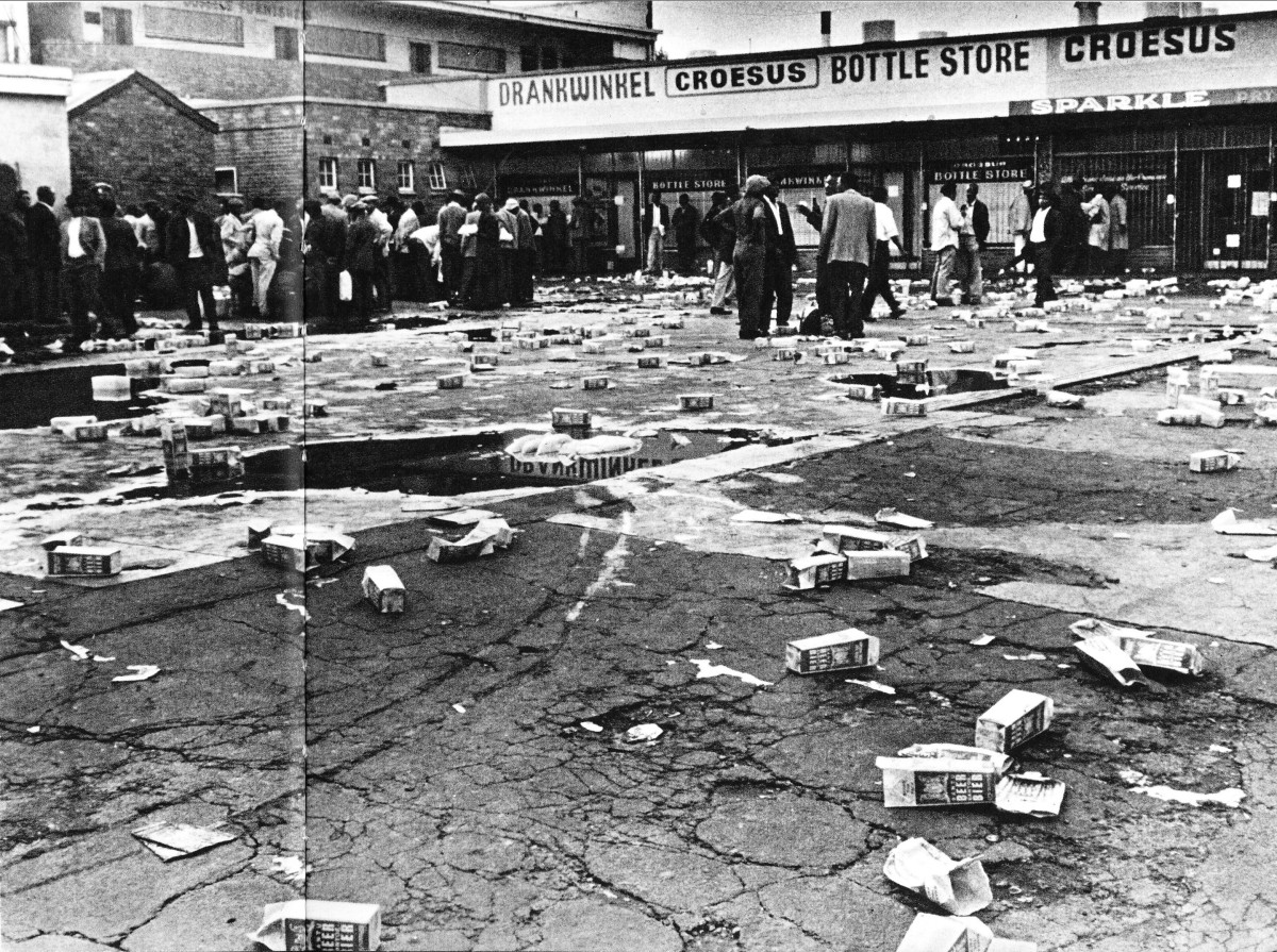 "Cartons of ""Bantu Beer"" littered all over the grounds where men were drinking it. This was sold by the government and was called ""Bantu Beer"", and has been poisoned over the decades, not as Botha claims was to be done from 1985, but done from the1950"