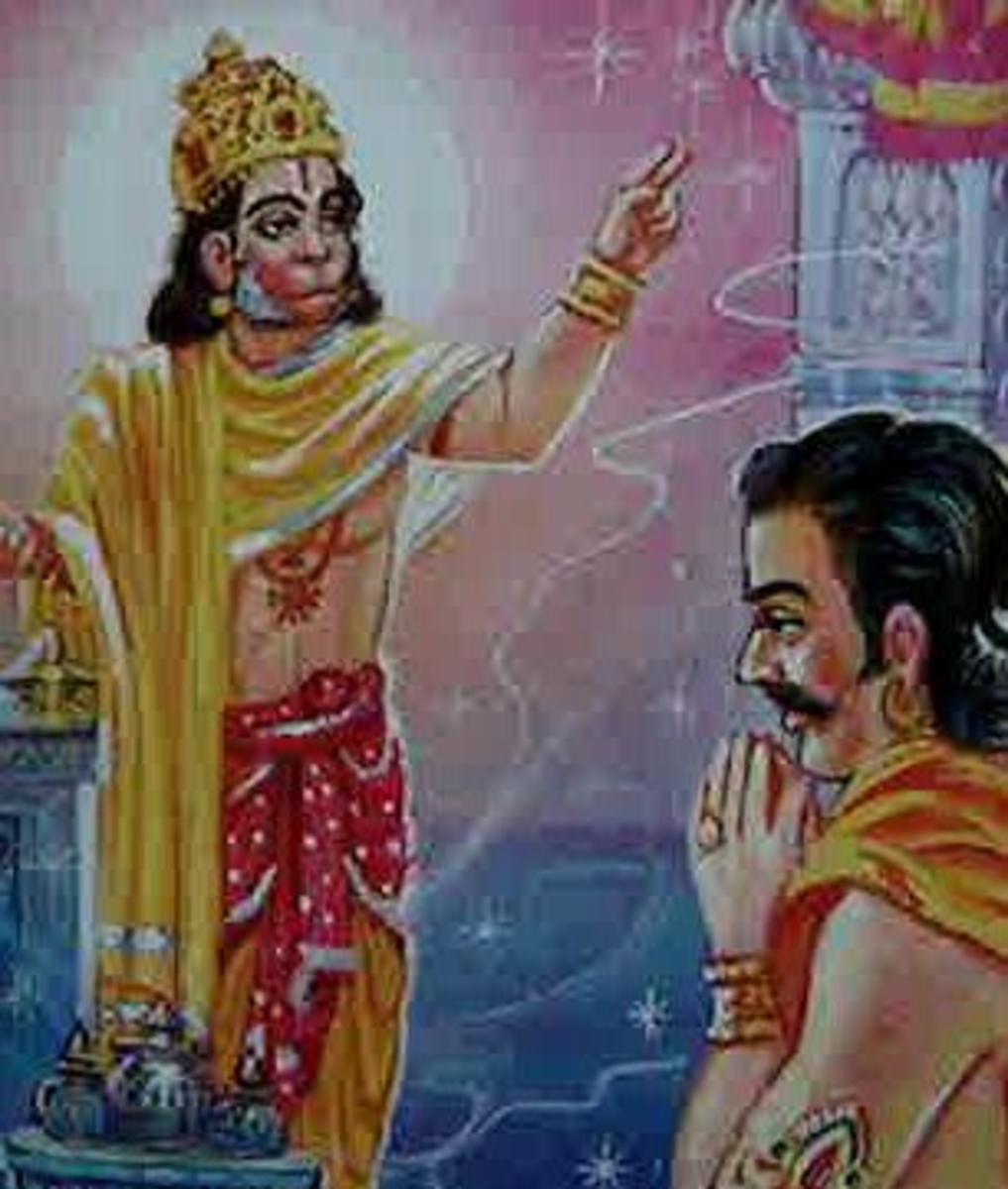 Picture depicting verse 19 of the Hanuman Chalisa