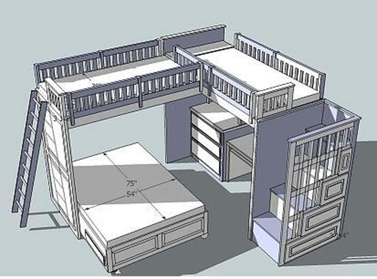 Child's Loft Bed Woodworking Plan