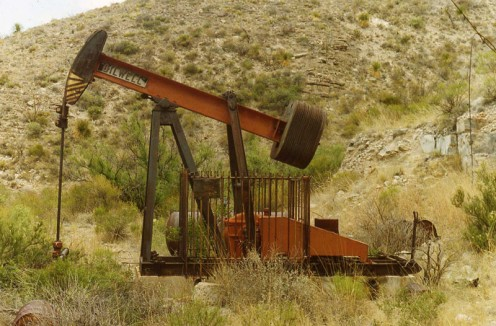 A West Texas pump jack in the Guadalupe Mountains National Park. Photo by the U.S. Federal Government's National Park Service and in the public domain.