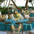 Hawaiian themed wedding or party table reception decorations